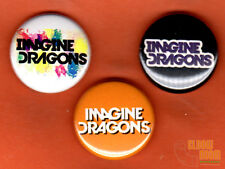 "Set of three 1"" Imagine Dragons pins buttons rock band Vegas radioactive"