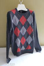 NWT Allen Solly 100% Cashmere Gray Argyle Orange Stone Men's Sweater S $240