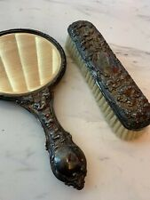 Solid silver vanity mirror & silver grooming brush all marked 1902