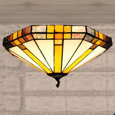Stained Glass Geometric Big Flush Mount Ceiling Light Tiffany Style Ceiling Lamp