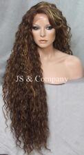 "38"" Long Human Hair Blend Lace Front Wig wavy Heat Safe Brown Carmel Blonde WESP"