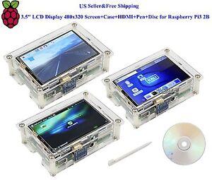 "US 3.5"" HDMI LCD Display 480x320 Screen+Case+HDMI+Pen+Disc for Raspberry Pi3 2B"