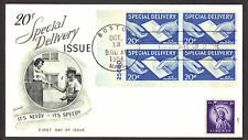 Special Delivery Plate # Block Fleetwood First Day Cover #E20 unaddress  LOT 956