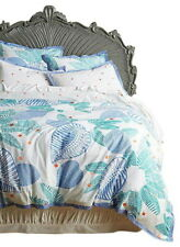 Anthropologie Vignette Duvet Cover Queen Blue Cotton Percale Embroidered NIP