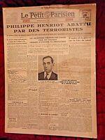 Journal du 29 juin 1944-P. Henriot abattu par des terroristes-Le Petit Parisien