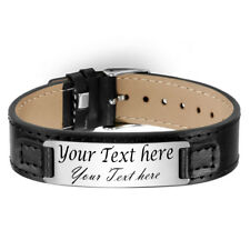 Personalize Laser Engraved Black Leather Bracelet Narrow band Customized gift