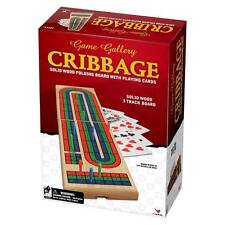 NEW CRIBBAGE Solid Wood Folding Board with Cards - Game Gallery