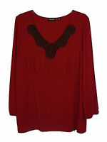 Avenue Red Pullover V-Neck Lace Trimmed Long Sleeve Knit Tunic Top Women's Plus