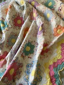"Vintage Handmade Quilt Grandmother's Flower Garden 84"" x 70"" Usable Condition"