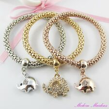3pce Three Tone Mother & Baby Elephant Charm Stretch Popcorn Chain Bracelet Set
