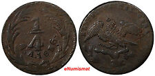 Mexico Federal Issue Copper 1836 1/4 Real, Un Quarto Weak Strike KM# 358 (10140)