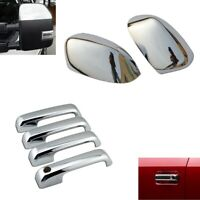 For 2017-2021 Ford F250 F350 F450 Top Half Chrome Mirror + 4 Door Handle Covers