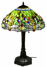 "Tiffany Style Stained Glass Lamp ""Vivid Dragonfly"" w/ 18"" Shade"