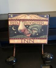 DARLING Chicken Plaque with 2 Hooks, RED ROOSTER INN, WALL DECOR