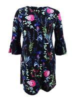 Tommy Hilfiger Women's Floral Printed Bell-Sleeve Dress (14, Black Multi)