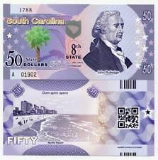 United States South Carolina 50 Dollars 2014 Polymer Rutledge Fantasy Banknote
