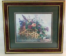 Homco Framed Print Bettie Herbert-Felder Floral Basket Signed