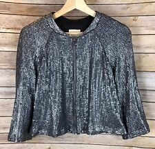 Urban Outfitters Silence+Noise Gray Sequin Bomber Jacket Cropped Zipper Size L