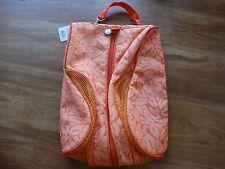 NWT Sunny Hawaii Flower Orange/Lt Orange Shoe Slipper Bag Pouch