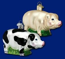 Pig Ornament Glass Black and White Old World Christmas 12121B 9