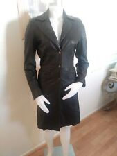 Bebe Black Leather Women's Trench Coat (S: Small)