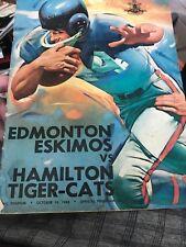 Cfl Football Program Edmonton Eskimos Vs Hamiiton Tiger Cats October 14 1963