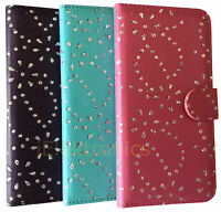 Bling Leather Flip Wallet Case Cover Pouch Bookcase for Various Phone Models