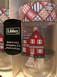 Vintage New In Box Libbey Glasses 4 Pc Set Home Sweet Home 17oz Tumbler Tall USA