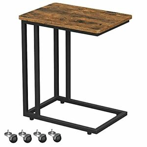 End Table, Side Table, TV Tray, C Shaped Snack Table with Rustic Brown + Black