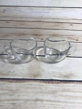 SET OF 2 CLEAR GLASS CUPS W HANDLES ROUNDED