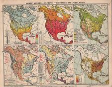 1935 mapa ~ América del Norte clima mediante la vegetación natural isobaras población