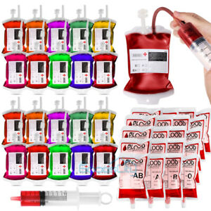15/30Pcs Halloween Blood IV Bags Reusable Drink Pouches Juice Containers Party