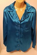 Victoria's Secret Sleepwear Polyester Blue Pajama Top Sz S Small  Long Sleeve