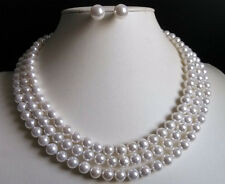 "Beauty 3 Rows 8mm white south sea shell pearl round necklace Earrings 17-19"" AAA"