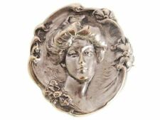 Antique Reposse Brooch Duchess of Devonshire Silver Plate