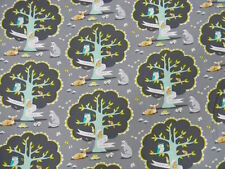 Michael Miller les amis dusk Tree Owl Deer Fox Gray Fabric