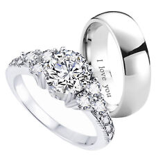 New Couple  Titanium /925 Sterling Silver Wedding Engagement Ring Set