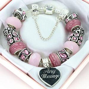 Personalised Jewellery FREE Engraving Pink Bracelet Birthday Gifts FREEPOST