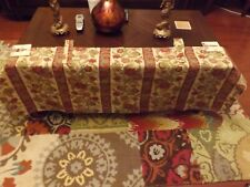 """Vintage Used  Red Green Floral Curtain Valance Drapes 56""""  22 """" L"""