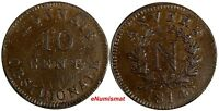 French States ANTWERP Napoleon I Bronze 1814 R 10 Centimes SCARCE KM# 5.3