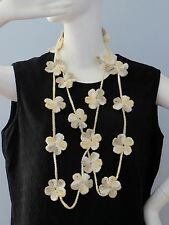New Handmade Crochet Yellow Forget Me Not Flower Infinity Scarf Necklace Lariat