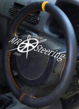 Per Mazda 6 MK1 2002-07 REAL volante in VERA PELLE COVER + Cinturino Giallo