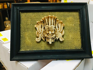 Sri Lanka Handmade traditional mask with stand frame-statues Sculpture art