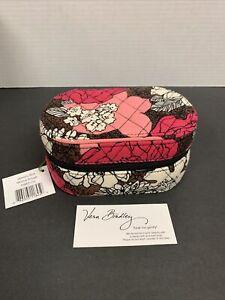 Vera Bradley Hard Oval Zip Around Travel Jewelry Box Case in Mocha Rouge NWT