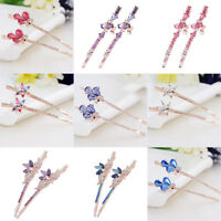 Fashion Women Crystal Rhinestone Hairpin Alloy Barrette Bobby pin Hair Clip