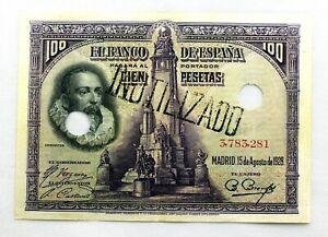 Spain-Billete. Cervantes. 100 Pesetas. 1928. EBC/XF. Escaso.