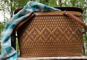 Vtg 1950s MCM Redmon Peru Indiana Woven Wicker Picnic Basket Cottage Core
