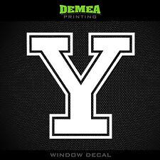"Yale - Y - NCAA - White Vinyl Sticker Decal 5"""