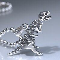 "Silver tyrannosaur dinosaur skeleton Pendant Stainless Steel Chain Necklace 24"""