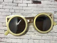 Retro style oversized rosegold cream round lens cat eye shaped QUAY sunglasses